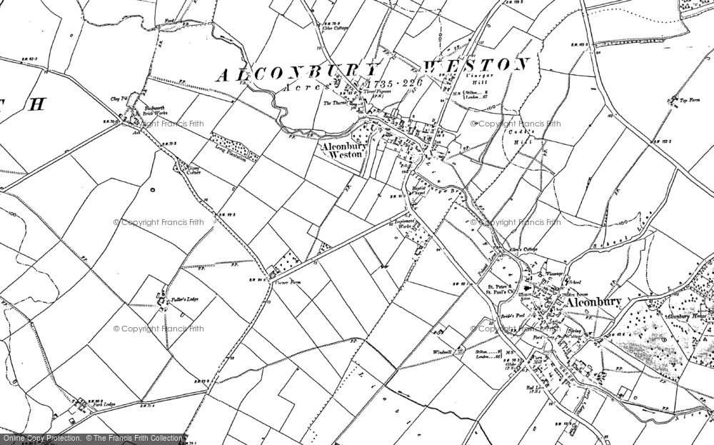 Old Map of Alconbury Weston, 1887 in 1887