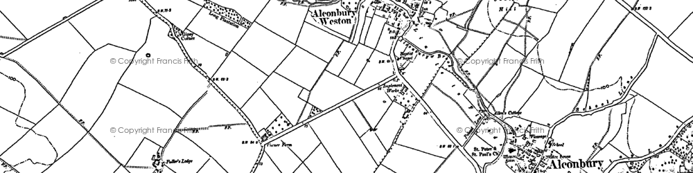 Old map of Alconbury Weston in 1887