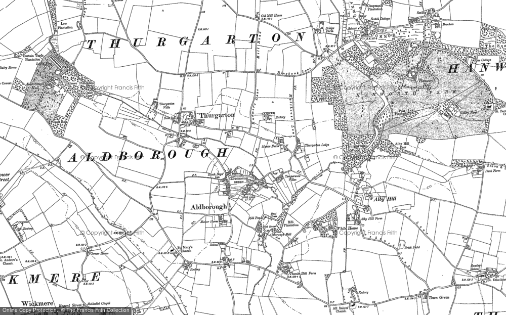 Old Map of Aldborough, 1885 in 1885