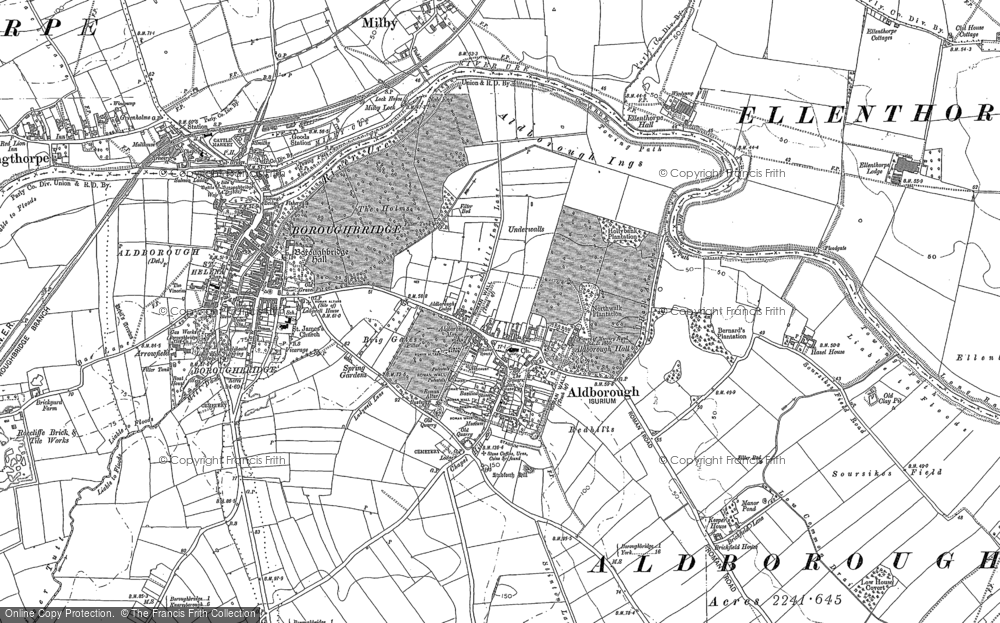 Old Map of Historic Map covering Aldborough Grange in 1892
