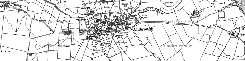 Old map of Aldbrough in 1889