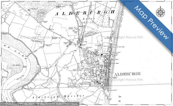 Old Map of Historic Map covering Aldeburgh Bay in 1902