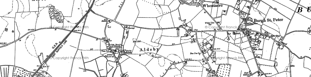 Old map of Alder Carrs in 1884