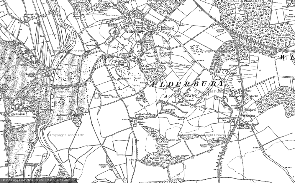 Old Map of Historic Map covering Alderbury Ho in 1900