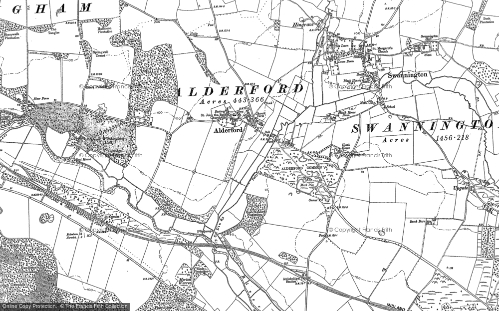 Old Map of Historic Map covering Alderford Common in 1882