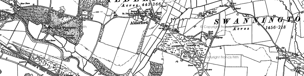 Old map of Alderford in 1882