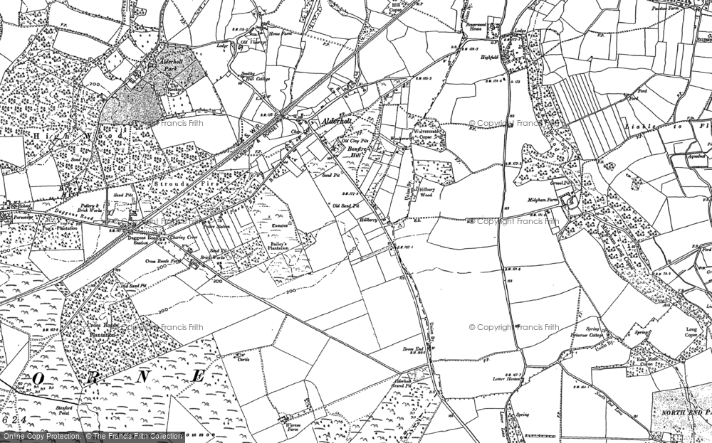 Old Map of Historic Map covering Alderholt Common in 1907