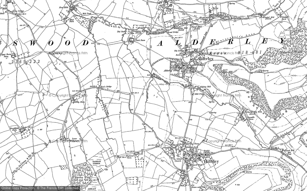 Old Map of Historic Map covering Alderley Wood in 1881