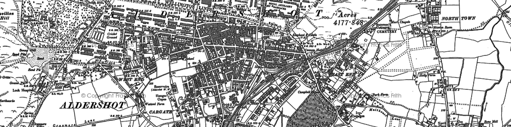 Old map of Aldershot in 1913