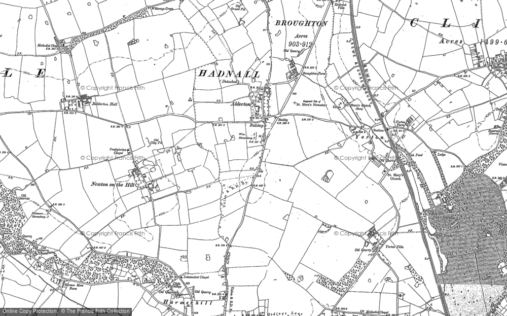 Old Map of Historic Map covering Balderton Hall in 1880