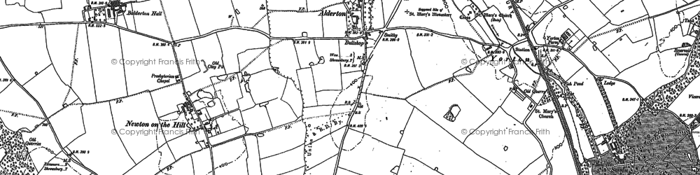 Old map of Balderton Hall in 1880