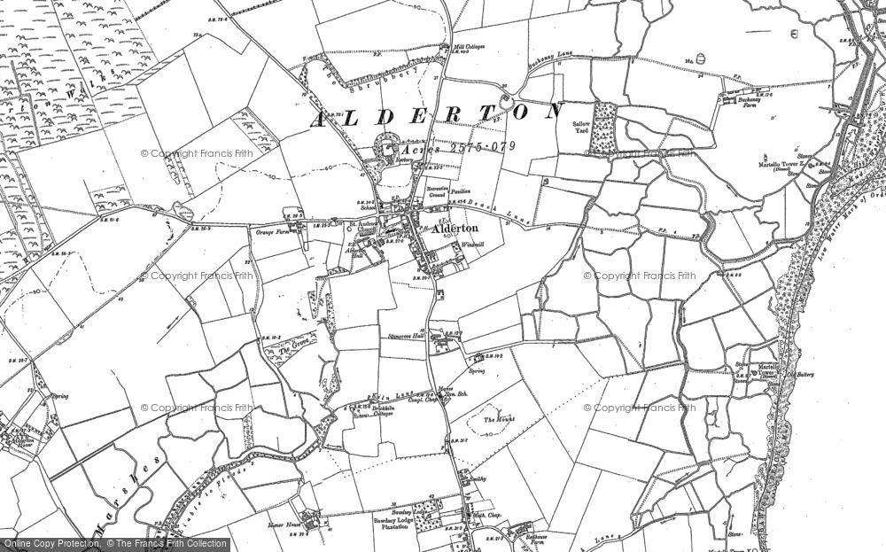Old Map of Alderton, 1902 in 1902