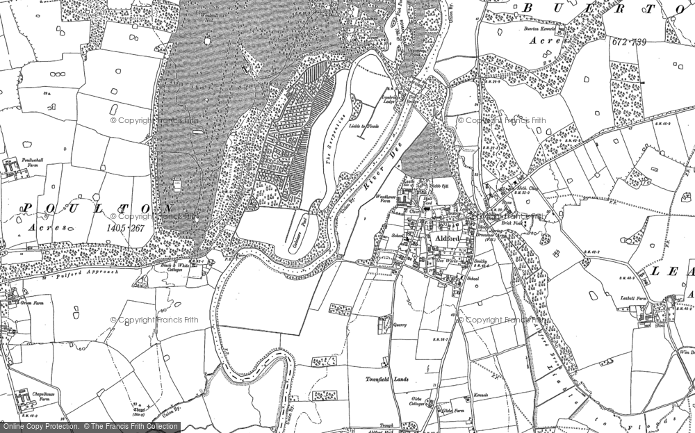 Old Map of Historic Map covering Aldford Brook in 1909