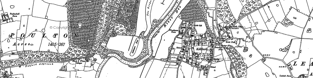 Old map of Aldford in 1909