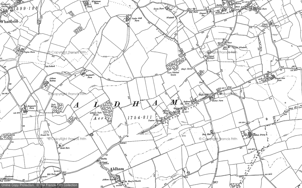 Old Map of Aldham, 1884 in 1884
