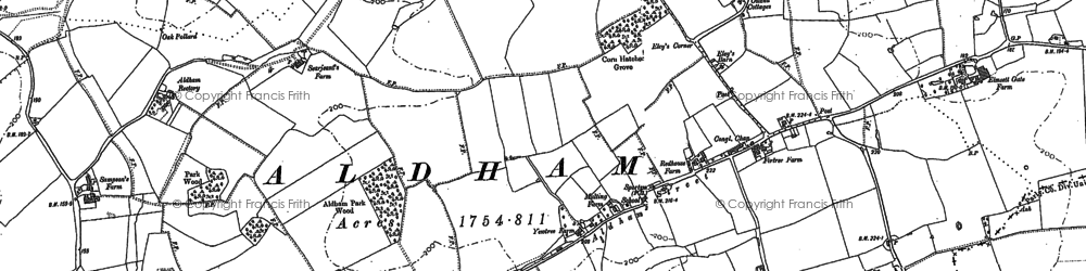 Old map of Aldham Priory in 1884