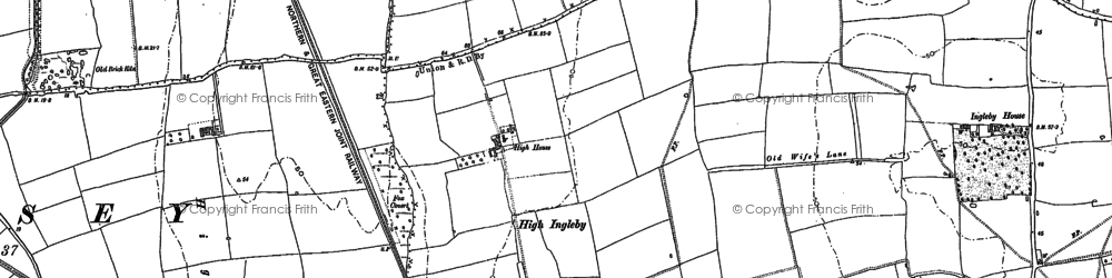 Old map of Aldhow Grange in 1885