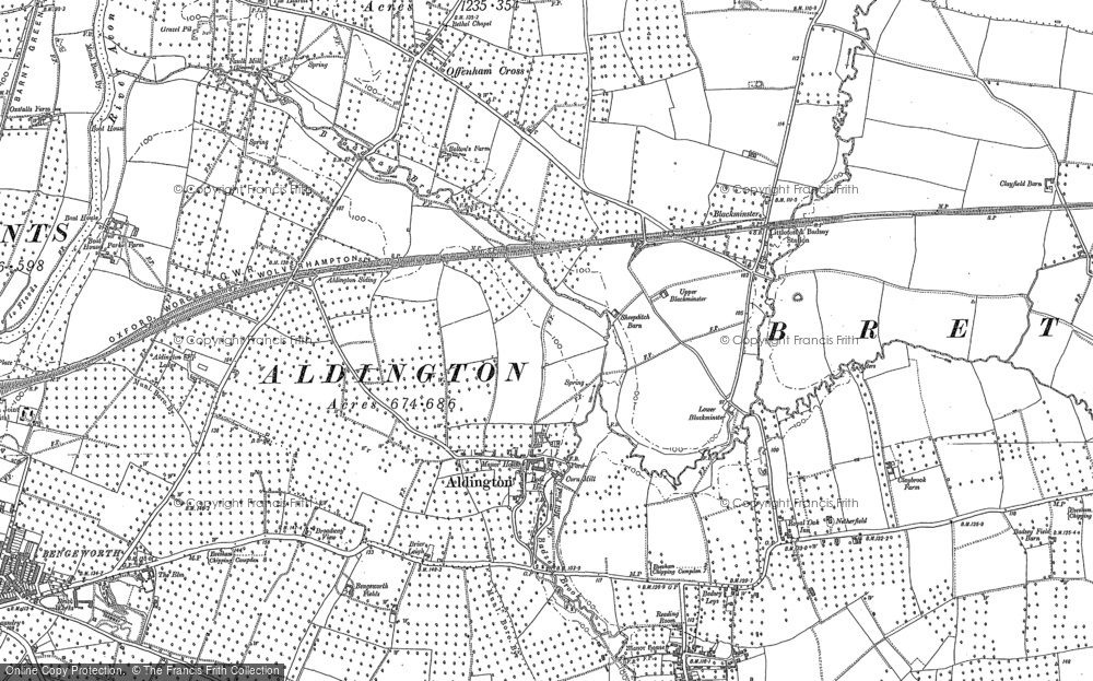 Old Map of Aldington, 1883 - 1885 in 1883