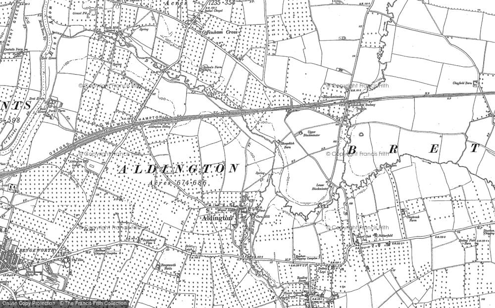 Old Map of Aldington, 1883 - 1885 in 1883