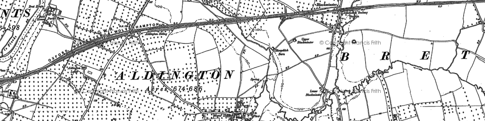 Old map of Aldington in 1883