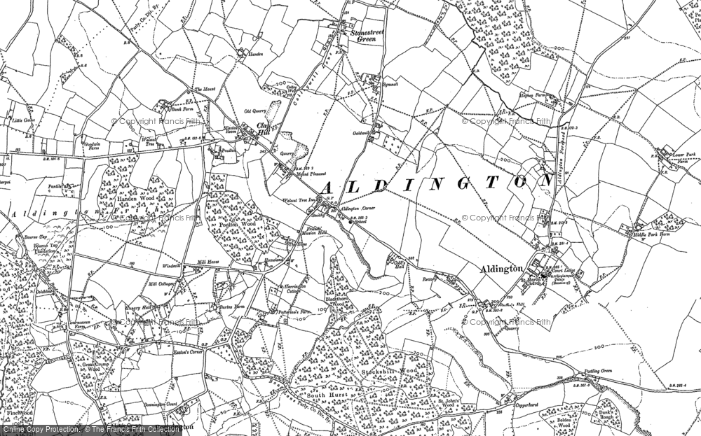Old Map of Aldington, 1896 in 1896