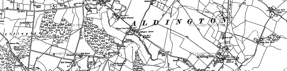 Old map of Aldington Frith in 1896