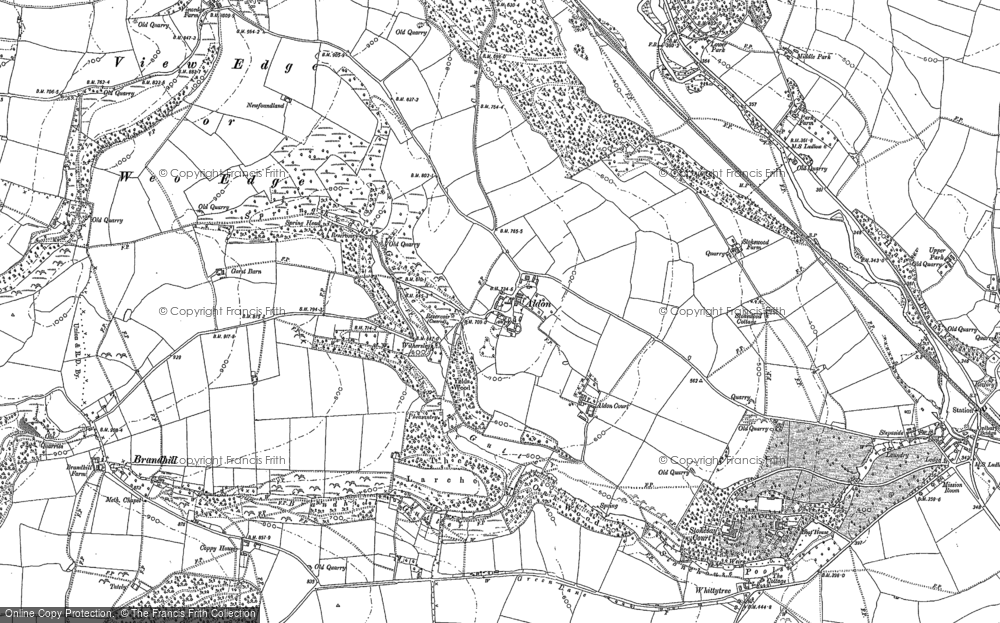 Old Map of Historic Map covering Aldon Court in 1883