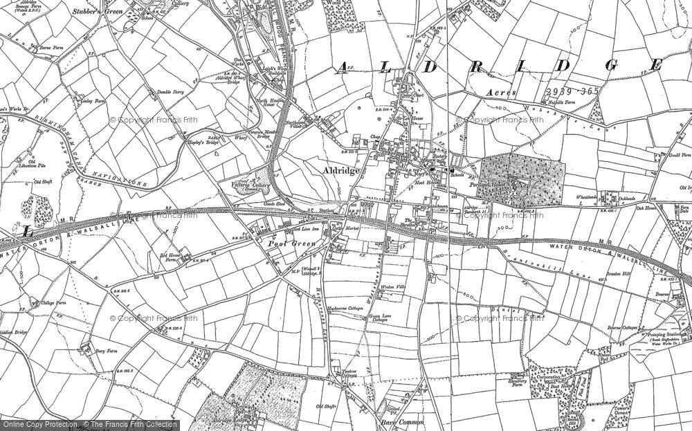Old Map of Aldridge, 1883 - 1901 in 1883