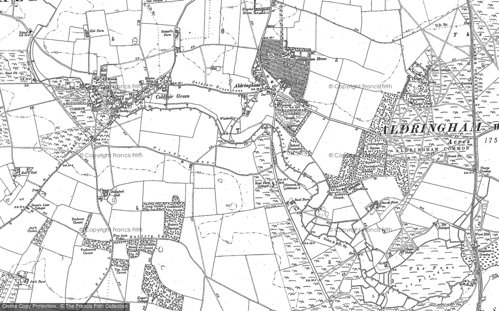 Old Map of Historic Map covering Aldringham Ho in 1882