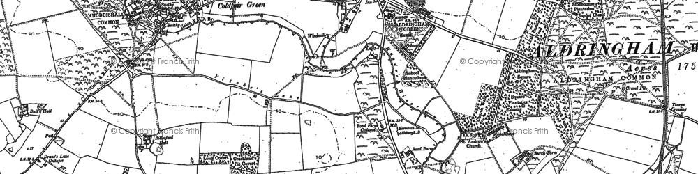 Old map of Aldringham in 1882