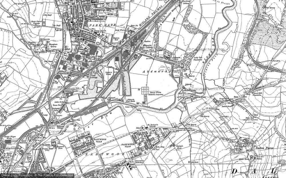 Old Map of Aldwarke, 1890 - 1901 in 1890