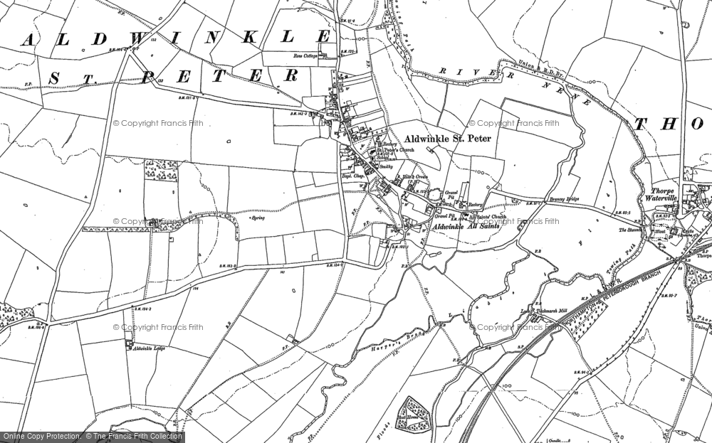 Old Map of Aldwincle, 1885 in 1885