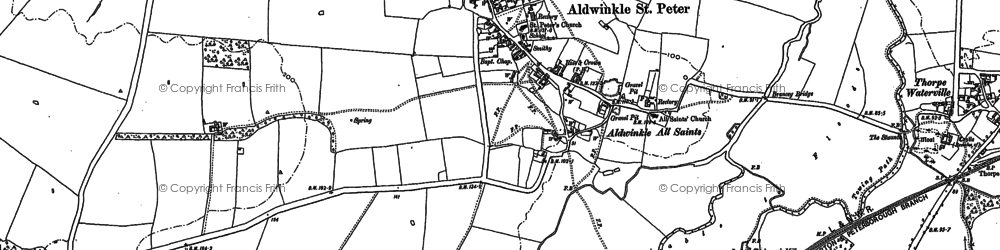 Old map of Aldwincle in 1885