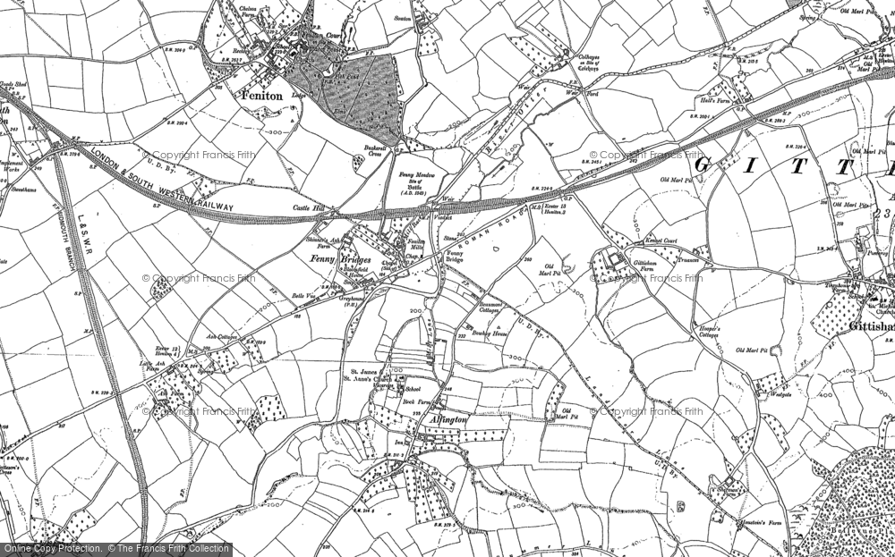 Old Map of Alfington, 1887 - 1888 in 1887