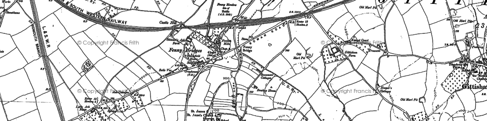 Old map of Alfington in 1887