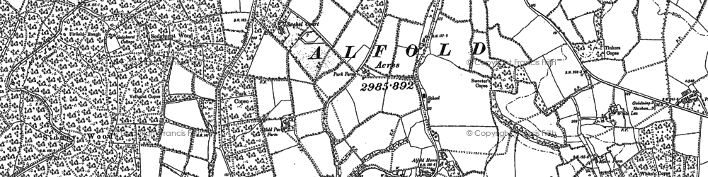 Old map of Alfold in 1913