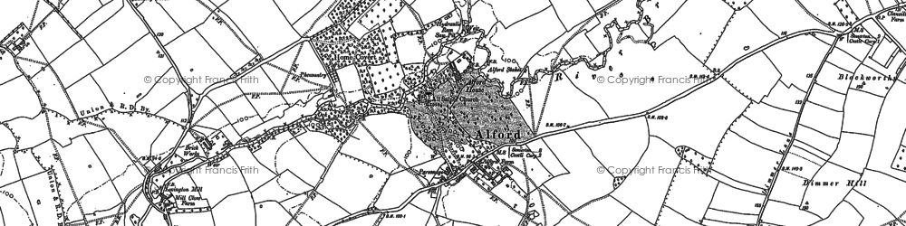 Old map of Alford in 1885