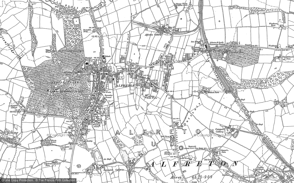Old Map of Historic Map covering Alfreton & Mansfield Parkway Station in 1879