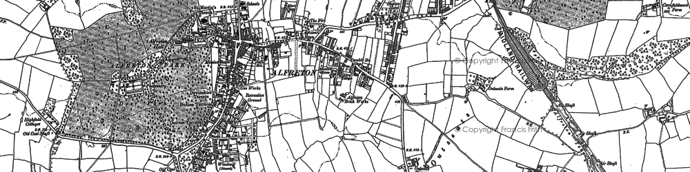 Old map of Alfreton & Mansfield Parkway Station in 1879