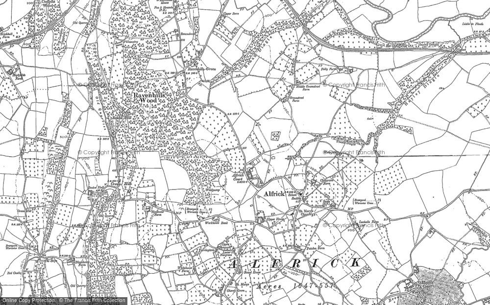 Map of Alfrick, 1884 - 1902
