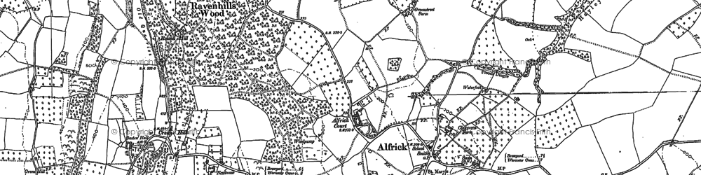 Old map of Alfrick in 1884