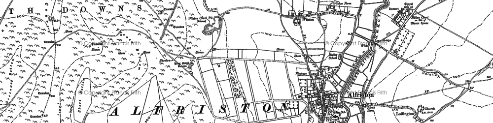 Old map of Alfriston in 1898