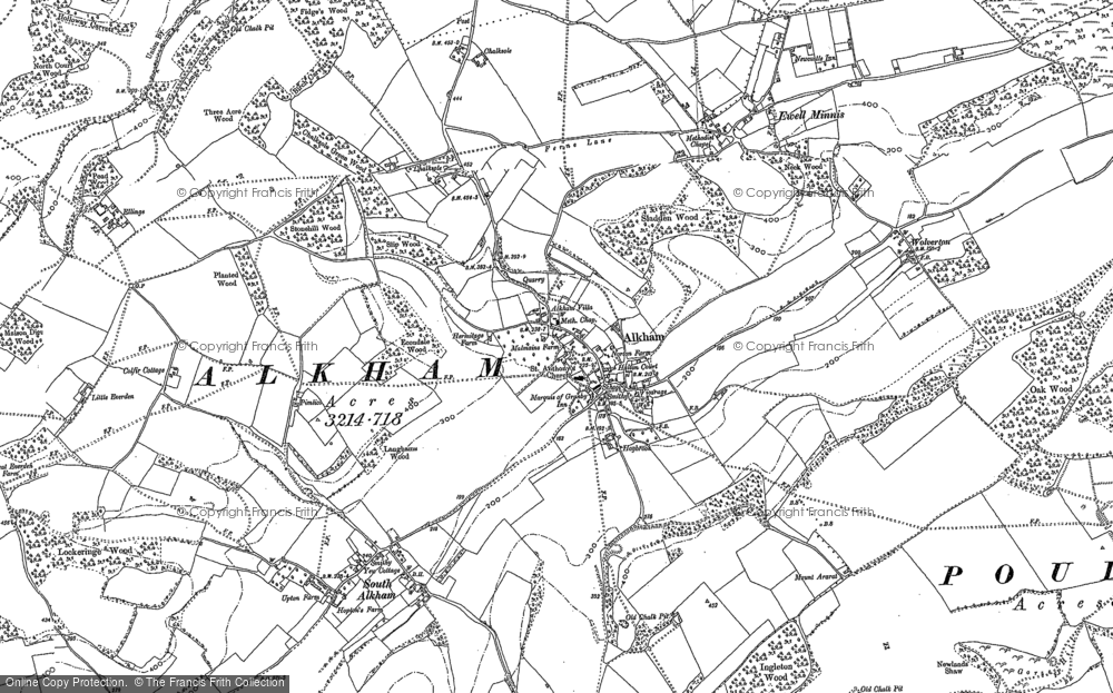 Old Map of Alkham, 1896 in 1896