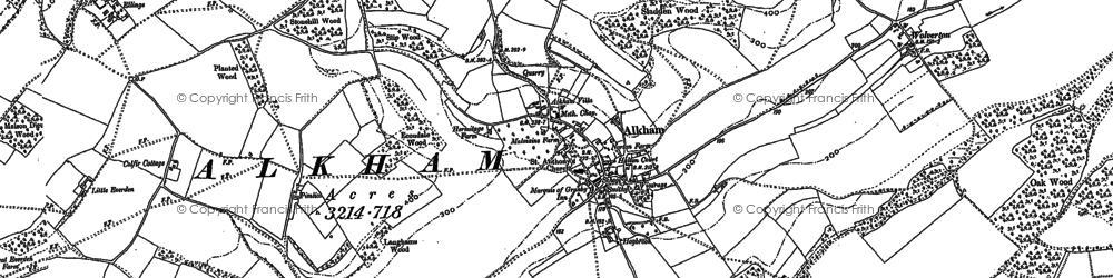 Old map of Alkham in 1896