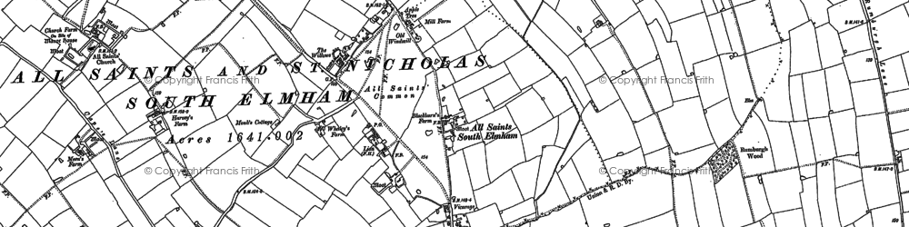 Old map of All Saints South Elmham in 1882