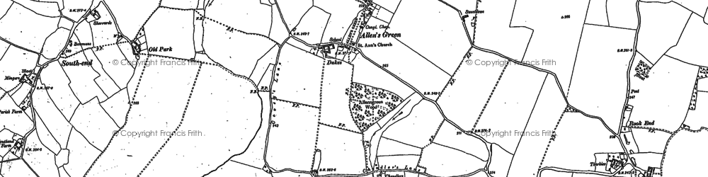 Old map of Allen's Green in 1896