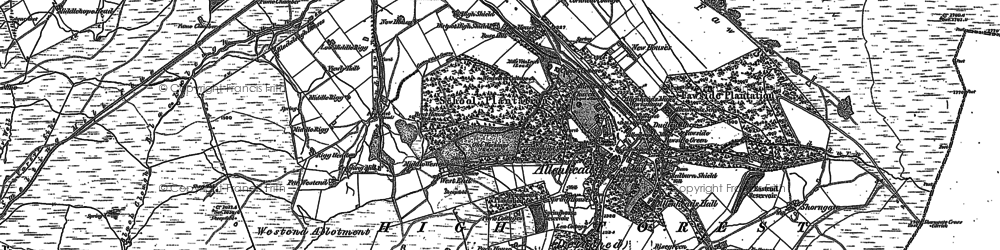 Old map of Allenheads in 1895