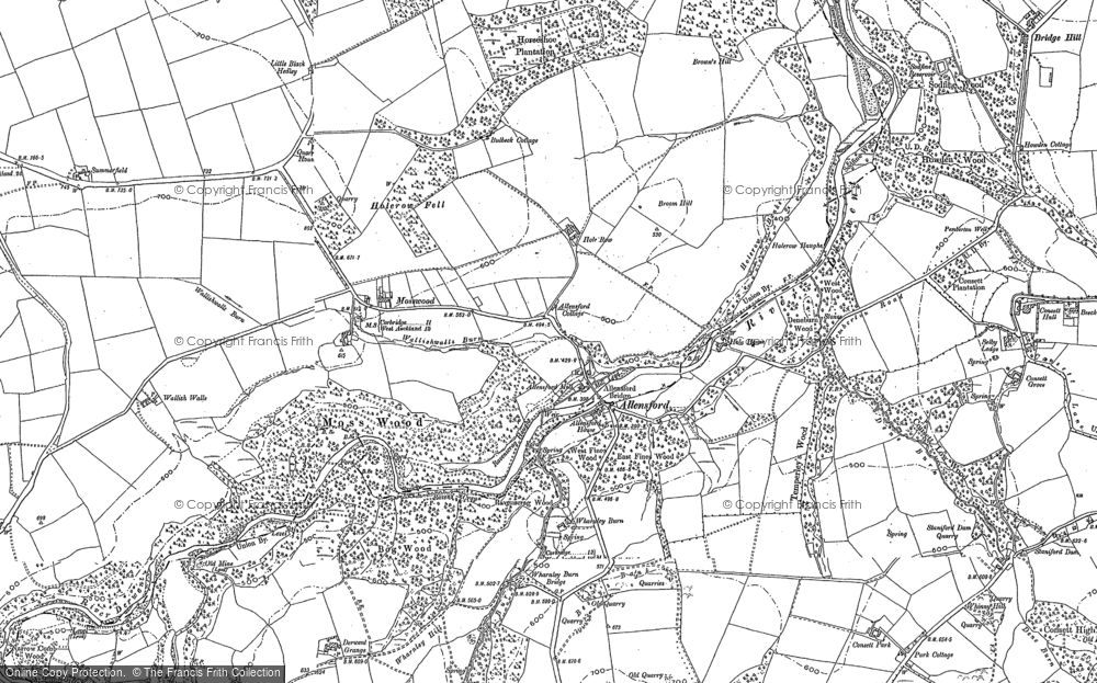 Old Map of Allensford, 1895 - 1919 in 1895
