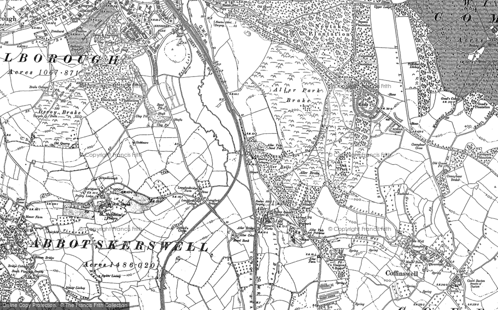 Old Map of Aller Park, 1886 - 1904 in 1886