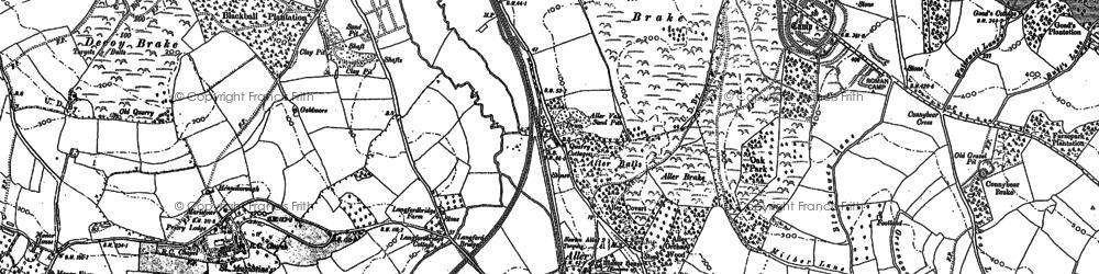 Old map of Aller Park in 1886